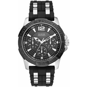 Guess Two Tone Black Silver Silicone Band Watch